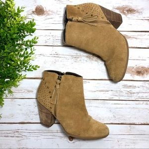 Guess Tan Studded Zip Up Ankle Boots Booties Fall